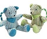 COTTAGE LINE Bär mit Seil / Grün Plüschfigur Hundespielzeug Welpenspielzeug