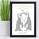Kissing Penguins Personalised Birthday Christmas Gifts for Couples Her Him Husband Wife Girlfriend Boyfriend Animal Couples Penguin Couple Presents - PERSONALISED with ANY TWO NAMES