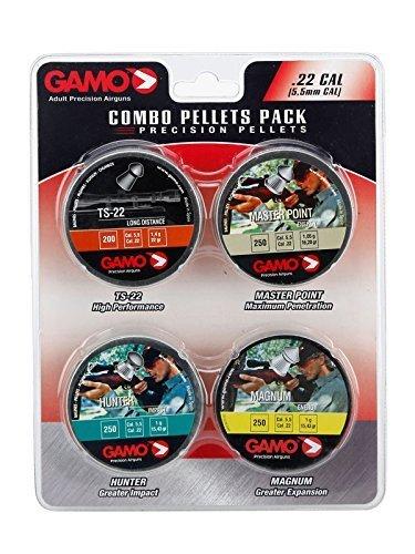 A Gamo .22 / 5.5mm combinaison paquet d'un canette de 250 Magnum énergie pastilles, une boîte 250 MasterPointPellets, 250 Hunter Impack pastilles et un 200 TS-22 Longue Distance