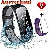 MOCRUX Fitness Armband Bluetooth Activity Tracker Armbanduhr Schrittzähler Mit Herzfrequenz, Schlaf-Monitor, Kalorienzähler, Remote Shoot, Anrufen/SMSz mit EIN Ersatzarmband