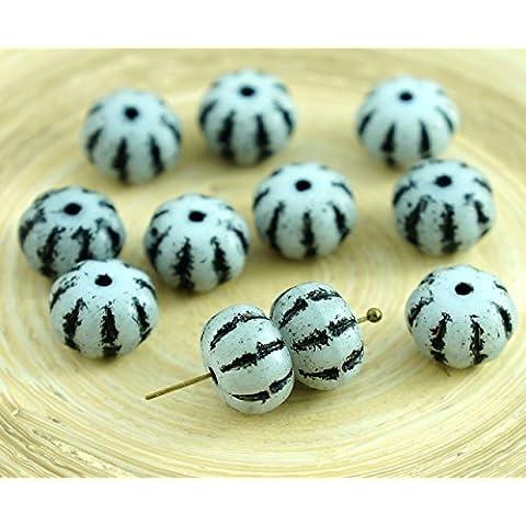 8pcs Bianco Opaco Nero a Strisce di Vetro ceco Schiacciato Perle di Melone Zucca di Halloween Frutta 8mm x 11mm