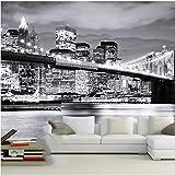 Wandbild leinwand Tapeten White & Black New York City Nachtlandschaft 3d Fototapete Papel Wandbild für Wohnzimmer Hintergrund 3d Fototapete Aufkleber-250 X 200CM