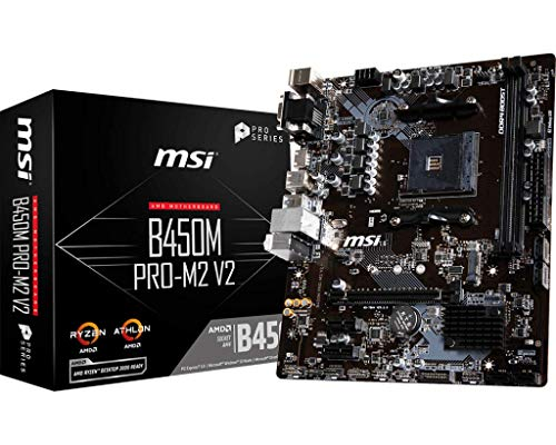 MSI B450M Pro-M2 V2 - Placa Base (Chipset AMD B450, DDR4 Boost, Intel LAN, Audio Boost, HDMI, X-Boost,soporta AMD Ryzen pocesadores) Color Negro