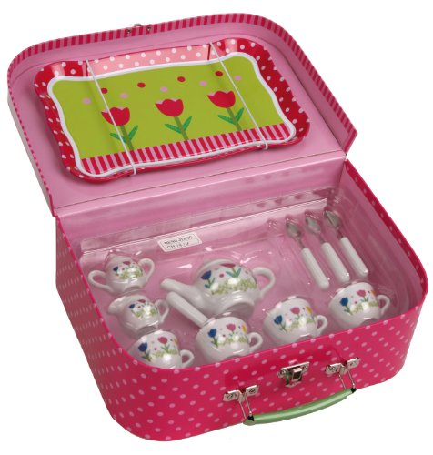 Kinderservice für Spielküche Kaffeeservice aus Porzellan mit Picknickkoffer