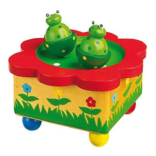 Boîte à musique en bois avec deux grenouilles qui tournent au rythme de la musique