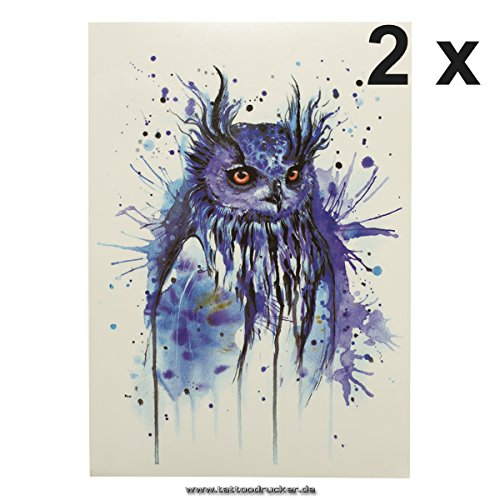 2 x Blaue Eule als Einmal Tattoo - Temporäres Tattoo Temporary Owl Flash Tattoo (2 x HB255)