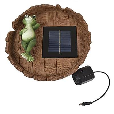 B-WARE - TEICHPUMPE Solarteichpumpe Happy-Frosch SOLAR SPRINGBRUNNEN GARTENBRUNNEN SOLAR WASSERSPIEL mit Solarpanel Akku Stromspeicher für Garten Teich mit Takt-Betrieb auch im Schatten. Der Pfiffige TEICH-FROSCH überrascht regelmässig mit einer spritz