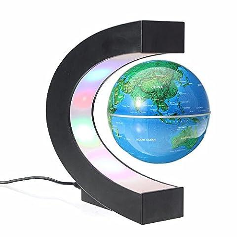 magnetisch Schwebender Weltkarte Globe Büro Decor LED Learning Educational Geographic Politische globeswith Funny Form C Desktop Ständer für Home School Schreibtisch Dekoration Kinder Weihnachten Geschenk