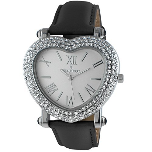 Peugeot Womens Heart Shaped Crystal Watch Black Strap