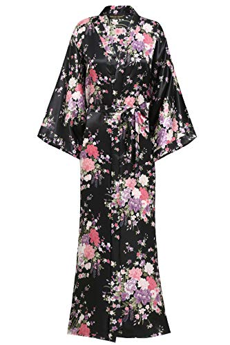 BABEYOND Damen Morgenmantel Maxi Lang Seide Satin Kimono Kleid Blütenkirsche Muster Kimono Bademantel Damen Lange Robe Blumen Schlafmantel Girl Pajama Party 135 cm Lang (Schwarz)
