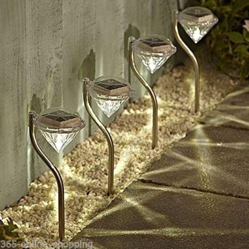 Set of 4 palo di solar light shape diamante dell'acciaio inossidabile led giardino pathway post lanterne per prato yard patio warmwhite