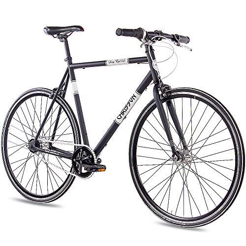 CHRISSON 28 Zoll Retro Rennrad Vintage Bike - Vintage Road N7 schwarz 56 cm mit 7 Gang Shimano Nexus Nabenschaltung, Urban Old School Fahrrad für Damen und Herren
