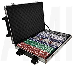 1000 Chip Poker Set Casino Vegas Style Texas Hold Em Playing Card Game Lockable Carry Case