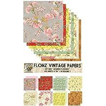 Bright Flowers Vintage Muster Papier fur Scrapbooking und Handwerk 24blatt 15x15cm Flonz Paper Pack