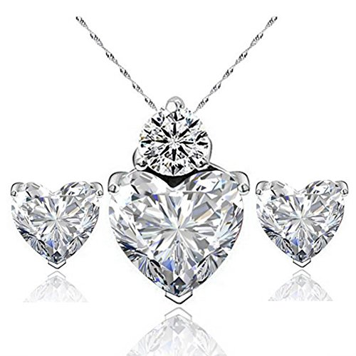 Hosaire Necklace Earrings Diamond Heart Style Elegant Women Jewellery Crystal Set of Crystal Pendant Necklace+Earrings