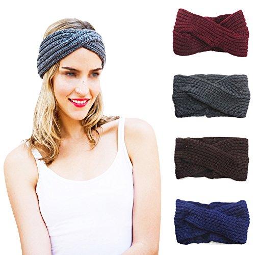 TININNA Serre-Tête Cross Bandeau Cheveux Femme Laine Tricoté Elastique Couvre-Oreille Turban Crochet Foulard Wrap Headwrap