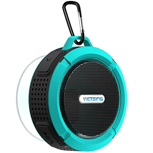 VicTsing Dusche Lautsprecher, Wireless wasserdichter Lautsprecher mit 5W Treiber, Saugnapf, eingebautes Mikrofon, Freisprecheinrichtung-Blau