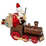 SIKORA Räuchermännchen aus Holz - Serie A - 2 Größen - verschiedene Motive, Farbe / Modell:A19 rot-braun - Weihnachtsmann mit Lokomotive;Größe:Höhe ca. 15 cm