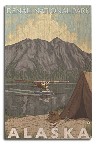 Lantern Press Bush Flugzeug und Fischerei-Denali National Park, Alaska, Holz, Mehrfarbig, 10 x 15 Wood Sign