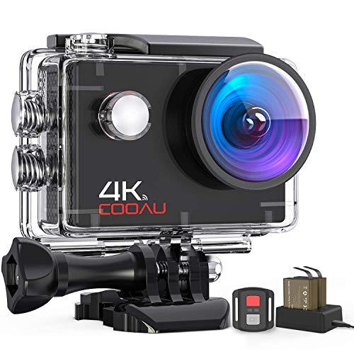 COOAU Caméra Sport 4K 16MP avec Wi-FI Télécommande stabilisateur EIS, Caméra d'action Étanche 40M avec Chargeur de Batterie Deux Chambres