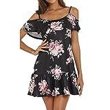 SANFASHION Kleid Damen Sommer Frauen Kalte Schulter Floral Mini Spaghetti Strap Strandkleid Sommerkleid