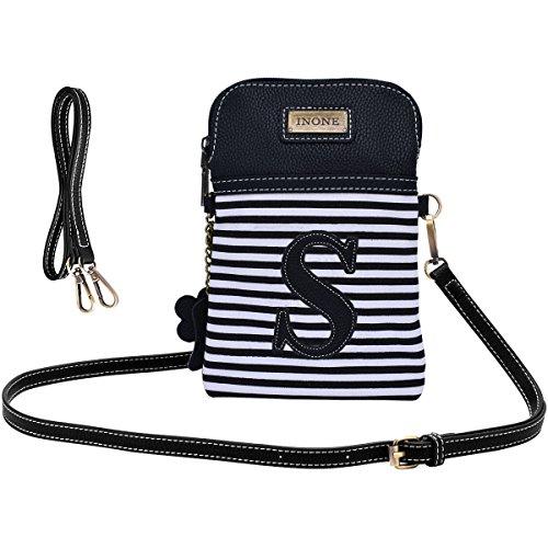 inOne Damen Handtasche aus PU-Leder mit schwarz-weißen Streifen und Monogramm -