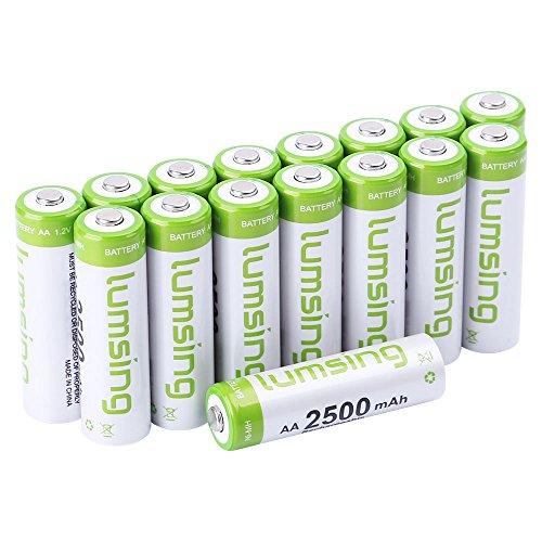 Lumsing 16 Stück AA Akku 2500mAh Ni-MH Wiederaufladbare AA Batterien Mit Batterie Speichern Box