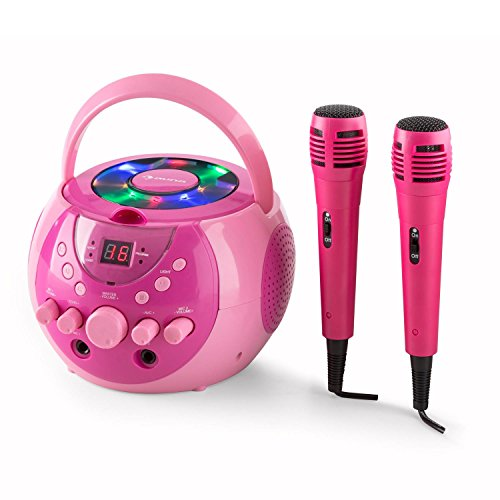 auna SingSing Mobile Karaoke-Anlage Set Kinder Karaoke-Player (Multicolor-LED-Lichteffekt, A.V.C-Funktion, programmierbar, Batteriebetrieb möglich, inkl. 2 x dynamisches Mikrofon) rosa