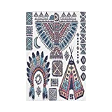 gthytjhv Tribal Ethnic Teepee Tents Eagle Symbol Moon Sun and Feather Chief Hat Print Decorative Coral Blue and Peach House Garden Family Event Decoration
