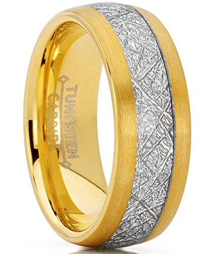 8MM Herren und Damen Gold Ton Wolframcarbid Ring mit Meteorit Einlage Verlobungsringe Trauringe Hochzeitsband Bequemlichkeit Passen Größe 65