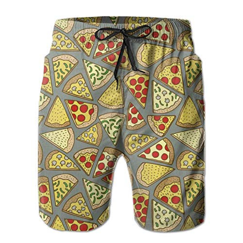 Jiger Pizza Mens Swim Trunks Quick Dry Board Shorts with Pockets Summer Beach Short with Mesh Liner£¬ XXL - Mesh Cheer Shorts