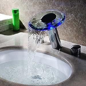 Hydroelectric Zwei Griffen Power LED Wasserfall Schwall Glas Armatur/Wasserhahn, Für Badezimmer, Verchromt (Höhe)