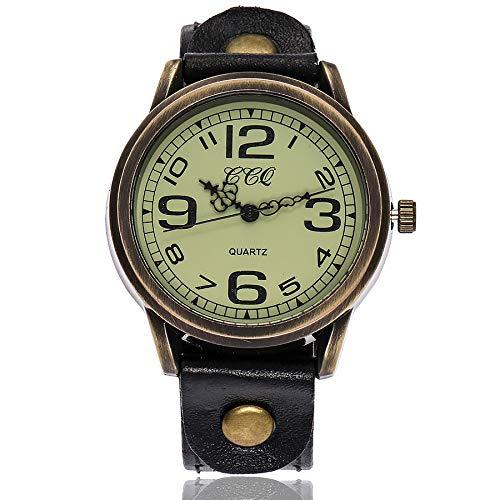 Förderung! LEEDY Herren Damen Vintage Leder Armbanduhr Analog mit Leder Armband Unisex Uhren Retro Wrist Watch