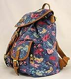 señoras empaqueta, los morrales de lona, impresión del pájaro, estilo vintage, mochilas, azul marino