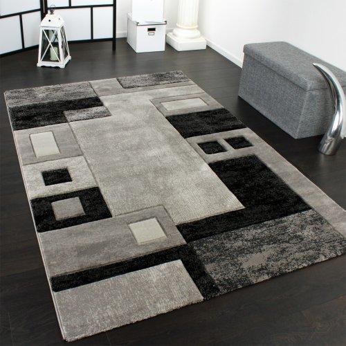 Alfombra De Diseño Perfilado - A Cuadros - Jaspeado Gris Negro, Grösse:200x290 cm