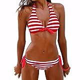 Sexy Bikini Set FORH Damen Reizvolle Push-up Bademode BH Klassisch Gestreiften Badeanzug + High Waist Shorts Sommer Monokini Swimsuit Tankini Beachwer (Rot, M)