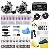 komplett tattoo set 2 Tattoomaschine Dual Power Supply 20 Tattoo Nadeln 40 Farbtinten Anfänger-Tattoo-Kit (TK1000033)