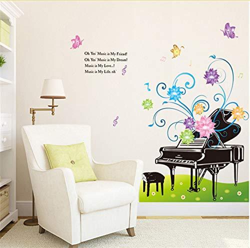 Lbonb Kreative Klavier Buntes Blumen Wiese Musik Wandaufkleber Schlafzimmer Wohnzimmer Wand-Dekor Pvc Abnehmbare Selbstklebende Kunst Aufkleber Wiese Musik
