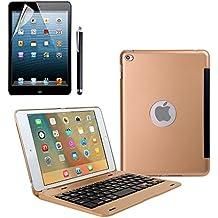 iPad Mini 4Teclado Funda, dingrich Premium Ultra Slim aluminio ligero Smart funda con teclado inalámbrico Bluetooth y función de Auto Wake/Sleep, soporte para Apple iPad 4Mini Tablet + Protector de pantalla + lápiz capacitivo, Oro