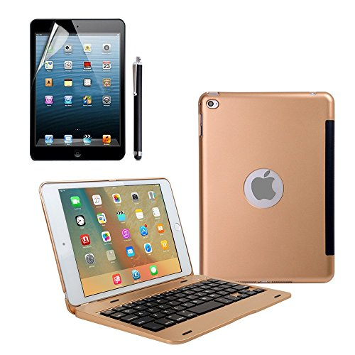 iPad Mini 4 Teclado Funda, dingrich Premium Ultra Slim aluminio ligero Smart funda con teclado inalámbrico Bluetooth y función de Auto Wake/Sleep, soporte para Apple iPad 4 Mini Tablet + Protector de pantalla + lápiz capacitivo, Oro
