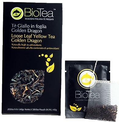 """'""""Golden Dragon biotea-Thé Jaune en feuille. Entièrement Naturel?. Sans pesticides et substances chimiques de synthèse."""