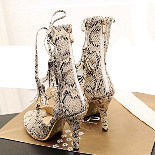 TAOFFEN Femmes Peep Toe Sandales Mode Aiguille Fermeture Eclair Chaussures De Lacets Beige