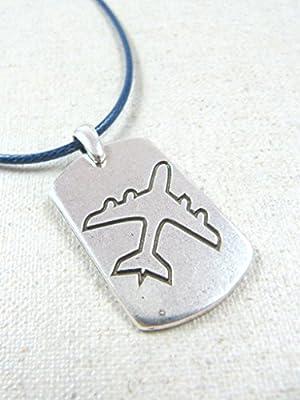 """Collier pendentif plaque US GM """"Avion"""" 20x33 mm"""