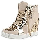 napoli-fashion Damen Schuhe Sneakers Keilabsatz Sneaker-Wedges Lack Glitzer Creme Lack 40 Jennika