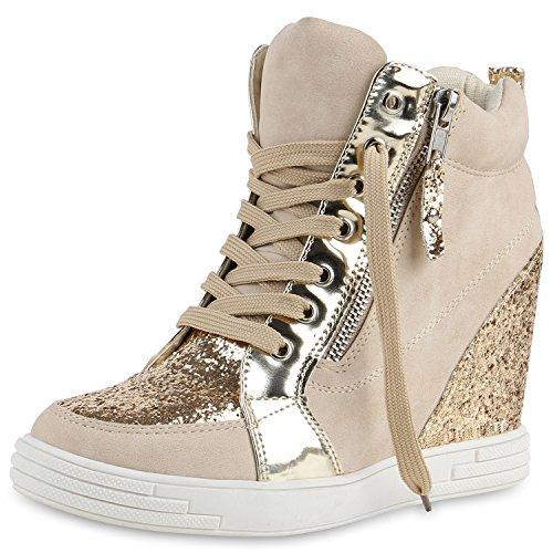 Creme Trainer (Damen Schuhe Sneakers Keilabsatz Sneaker-Wedges Lack Glitzer Creme Lack 38 Jennika)