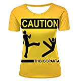 qianyishop Damen 3D Printed Casual T-Shirts Caution ! Creative Logo Graphic Crewneck Short Sleeve Couple Tees XXL