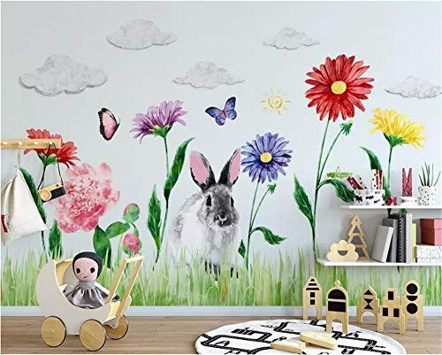 Ytdzsw Benutzerdefinierte Tapete Nordic Hand Bemalt Niedlichen Hase Kinderzimmer Hintergrund Wände Papier Dekoration Wandbild 3D-Tapete-250X175Cm
