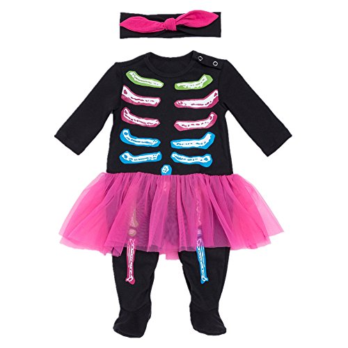 Bom Bom Bebe Halloween Pelele para Dormir Monos Bodies Manga Larga(Black for Girl,0-3m)