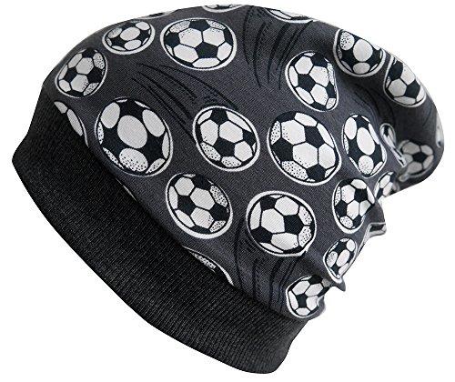 Wollhuhn ÖKO Beanie-Mütze Fussball grau für Jungen und Mädchen (aus Öko-Stoffen, Bio), 20160414, Größe M: KU 51/53 (ca 3-5 Jahre)
