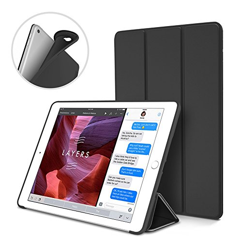 Intelligente Mini-Schutzhülle aus PU-Leder für iPad 6/ Air2, mit magnetischer Sleep-und Wake-Funktion, stoßfestes Silikon, abwaschbar, weiches TPU-Material schwarz Schwarz
